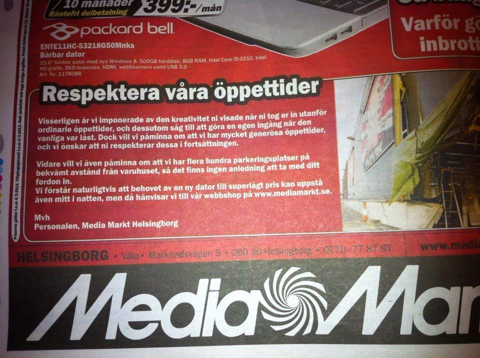 media markt helsingborg öppettider